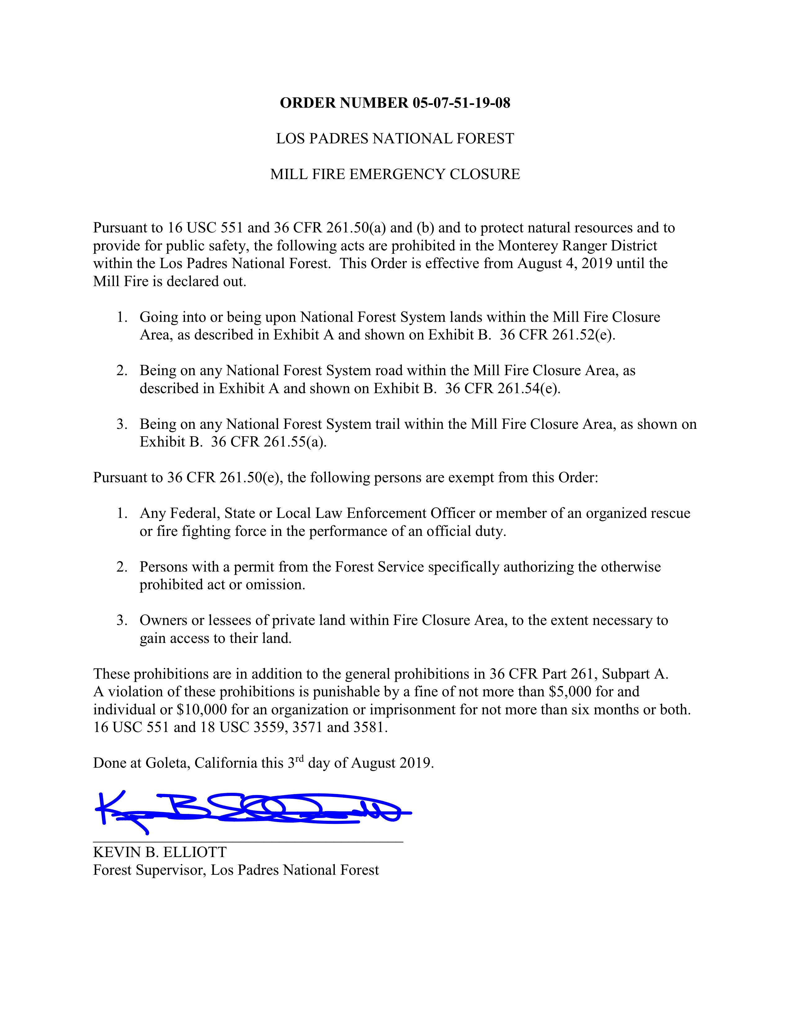 Partial Forest Closure order effective 8/4/19 and Map